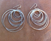 Many Silver Hammered Circles Earrings