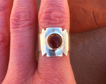 Silver and Carnelian Shield Ring
