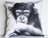 Animal Cushion cover decorative pillow CHEEKY CHIMP, MONKEY   16 x16 inch pillow 40cm cushion