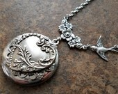 Hearts and Flowers Victoriana Filigree Locket, Mother's Day Locket, Exclusively by Enchanted Lockets