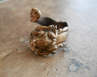 Frog Spoon Ring in Brass, The ORIGINAL Exclusive Design Only by Enchanted Lockets