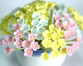 Miniature Polymer Clay Flowers Supplies for Dollhouse, set of 30 stems, three tones, Light Blue, Pink and Yellow