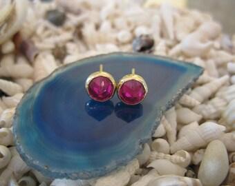 Ruby Red Zircon 14k Gold Post Earrings