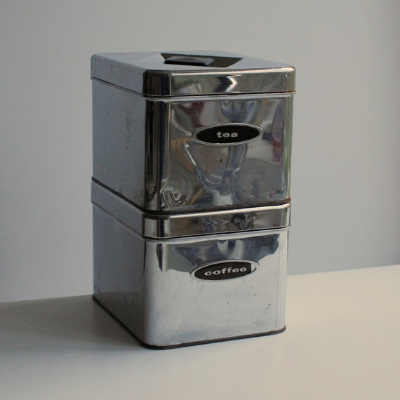 Vintage Chrome Kitchen Canisters by Masterware Canette - Coffee & Tea