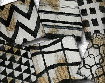 Geometric Pattern Handmade Glass Set of Six Coasters from Upcycled Dictionary page book art - WilD WorDz - ThOuGht PaTterNs