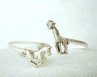Giraffe cuff bracelet with a horse wrap style, animal bracelet, charm bracelet, bangle