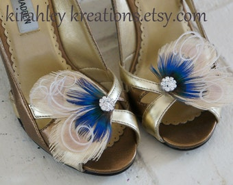 Ivory Peacock Feather TIA Shoe Clips Royal Blue Plumage Herl Rhinestones Shoes Accessory Bride Bridal Bridesmaids Flower Girl Prom Custom
