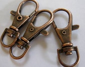 TEN Large Antique Copper Swivel Lobster Clasp, Lanyard, Chain Holder, other colors available