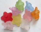Tiny Frosted Lucite Acrylic Flower Bead 9 x 9.5mm, 5 Point Star, FIFTY 50 Assortment