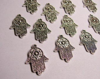 Hand of Fatima silver color charms hypoallergenic- 12 pcs - engraved - NAZ41