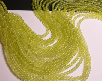 Olive Jade - 4mm round beads - 1 full strand - 95 beads per strand - NRG116