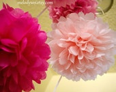 3 large tissue paper poms with ribbon, 18'' balls, choose your colors