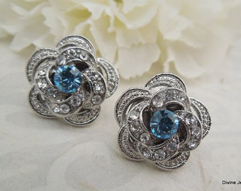 Bridal Earrings Bridal Rhinestone Earrings Rhinestone Earrings Wedding Rhinestone Earrings Something Blue swarovski Earrings ROSELANI