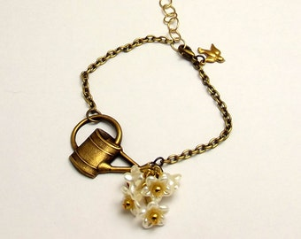Pearl Flower Bracelet, Antiqued Gold with Watering Can