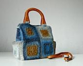 Women bag, granny square crocheted felted, blue of brown shades, messenger bag, shoulder bag, adjustable leather strap