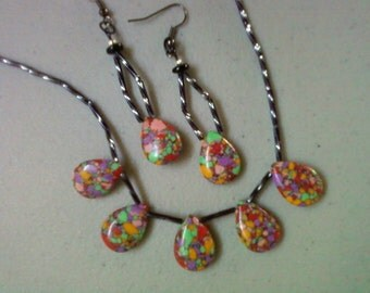 Rainbow Howlite Necklace and Earrings (0622)