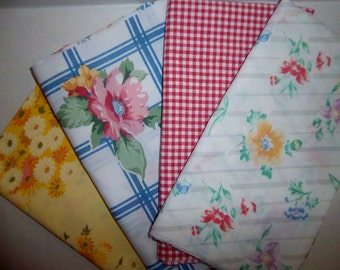 French Country Vintage Bed Linens Half Yard Bundle  2 Yards Total  (4 Pack)