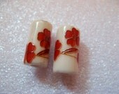 Pair of Ivory and Deep Red Floral Glass Beads