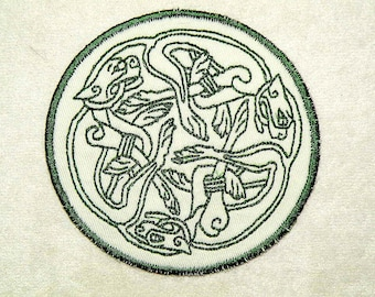 Three Celtic Dogs Iron on Patch