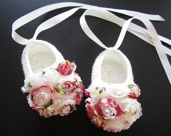 Chiffon Flowery Crochet Baby Booties - 4 Sizes from 0-12 mos