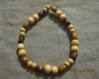 Handmade White and Brown Wood Bead Stretch Bracelet