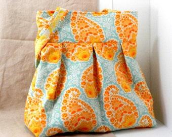 Library Bag, Large Purse, Joel Dewberry, Aqua and Orange, Shoulder Bag, Tote Bag, Gift For Her, Large Purse, Handmade Accessory