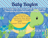 Turtle Invitation - Turtle Baby Shower Invite - Sea Invitation - Baby Shower Sea Turtle Personalized Digital DIY