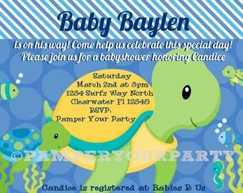 Turtle Invitation - Turtle Baby Shower Invite - Sea Invitation - Baby Shower Sea Turtle Personalized Digital DIY