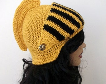 Mustard Yellow Crochet Knight Hat-Knight Hat with Movable and Detachable Face Mask-for fantasy and adventure play-Medieval knight helmet hat