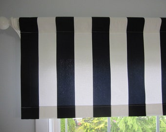 Curtain, Valance, Window Curtain, Navy Blue and White Cabana Stripe Curtain Valance 50 x 16