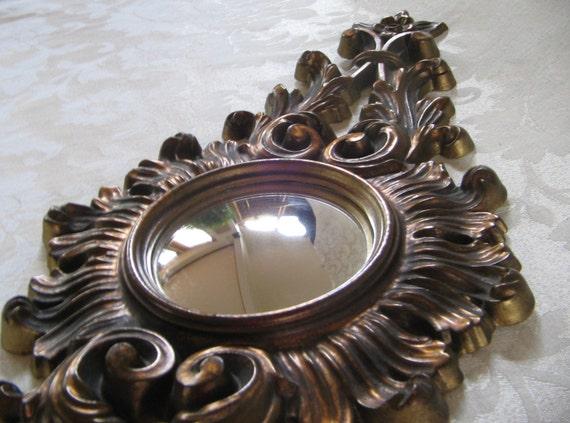 Vintage Wall Mirror Ornate Convex Bullseye Turner Mfg. Co