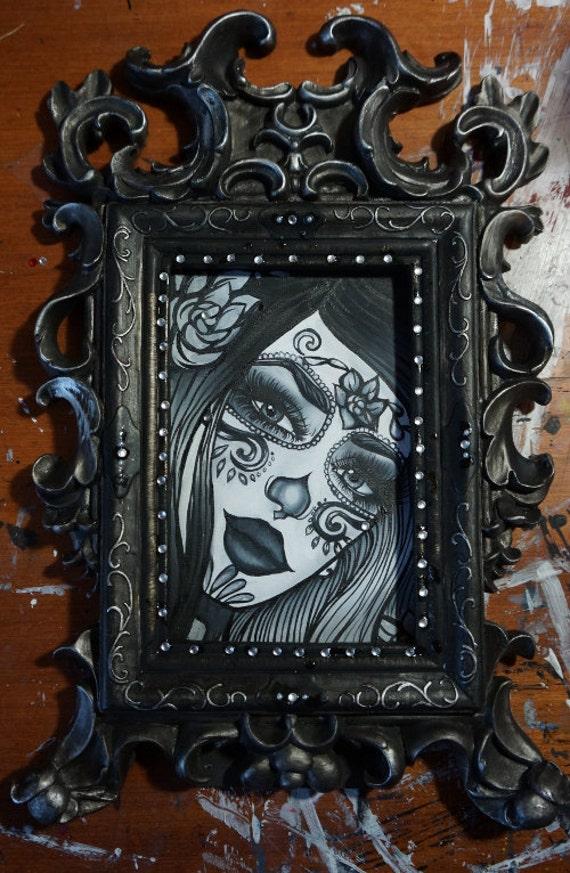 RESEVED for Tanya  Day of the Dead  Tattoo art Oil Painting in Victorian Frame ORIGINAL dia de los muertos lowbrow art sugar skull
