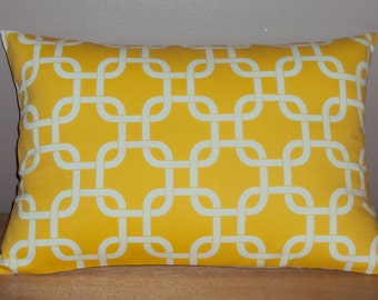 Bright Yellow Decorative Geometric Lumbar Pillow Cover - 3 Sizes Available