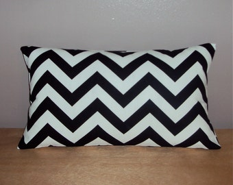 Black Chevron Zig Zag Decorative Lumbar Pillow Cover - Available in 3 Sizes