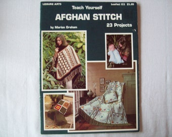 23 Crochet Patterns Afghan Stitch, Teach Yourself Aghan Stitch booklet, Crocheted throw blanket,  poncho, baby bunting, pot holder, pillow