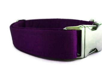 Satin Wedding Dog Collar - Purple
