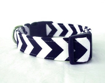 Navy Blue Chevron Dog Collar