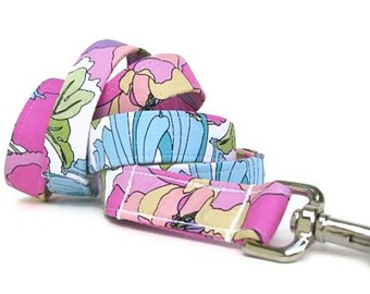 Floral Dog Leash - Pink Purple Blue Green - 6 Foot Length