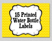 Personalized Water Bottle Labels Set of 15 Printed  Made to Match any theme in my shop