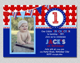4th of July Birthday Invitation, Firecracker Birthday Invitation