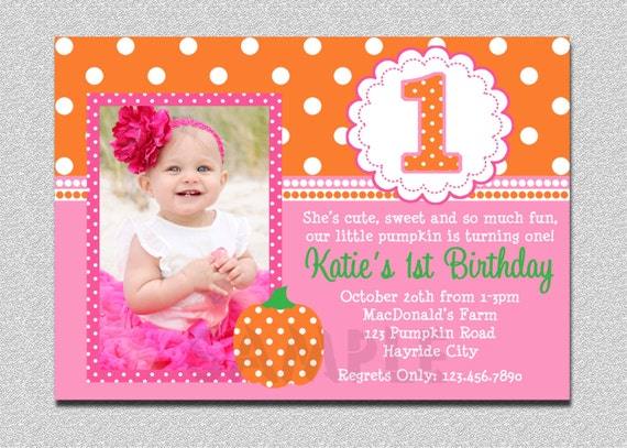 Pumpkin Birthday Invitation Pumpkin 1st Birthday Party Invitation – Pink 1st Birthday Invitations