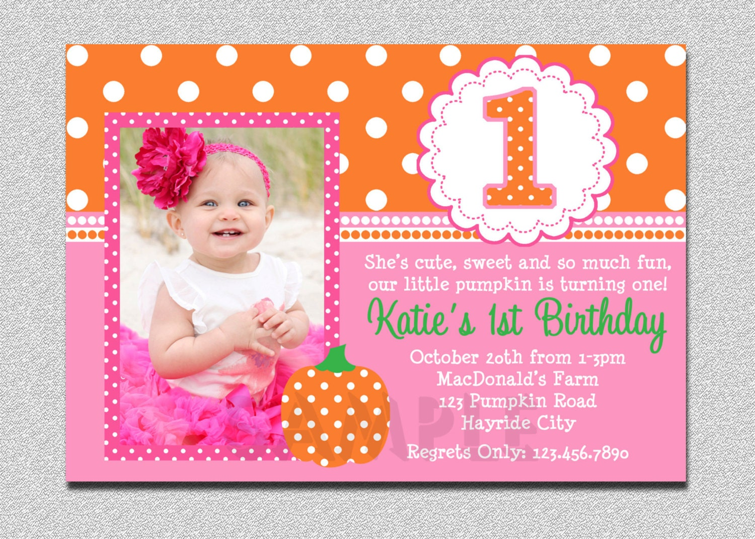 Pumpkin Birthday Invitation Pumpkin 1st Birthday Party – Invitation for First Birthday Party