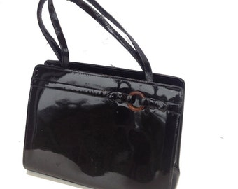 Betty D, French Vintage, Black Patent Leather, 1950s, Mad Men Style, Handbag from Paris