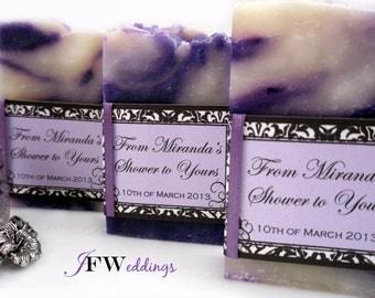 50 Handmade Vegan Soap Favors | Black Damask scented in Sheer Lavender Seduction | Wedding | Bridal In Cellophane bags | Made in 7 days