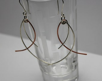 Sterling Silver and Copper Swing Earrings