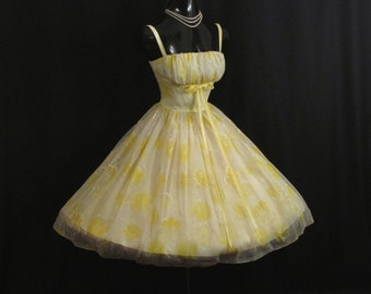 Vintage 1950's 50s Bombshell Cupcake Lemon Yellow Floral Flocked Ruched Chiffon Organza Party Prom Wedding Dress