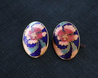 Vintage Peach Flower w/ Blue Cobalt Earrings