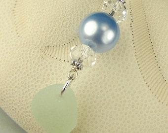 Seaglass Pendant Genuine Swarovski Crystal Pearl Sterling Silver