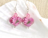 Pink Valentines Lampwork Heart Earrings with Pink Roses
