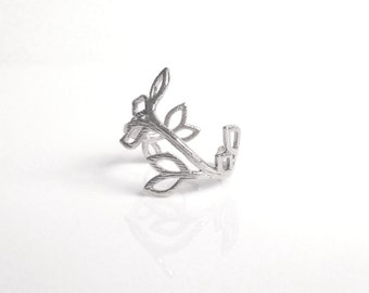 Branch Ring - silver finish delicate pinky / midi style adjustable little ring w/ simple winding vine leaf design - matte texture size 4 5